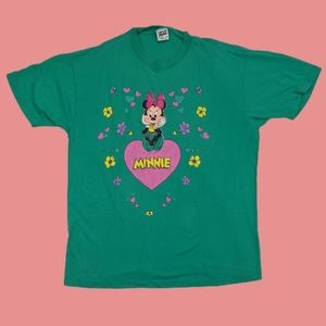 Vintage Minnie Mouse floral and hearts tee Minnie
